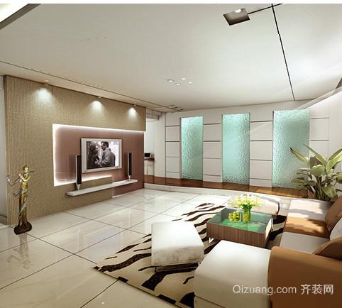 大户型客厅电视玻璃艺术背景墙效果图