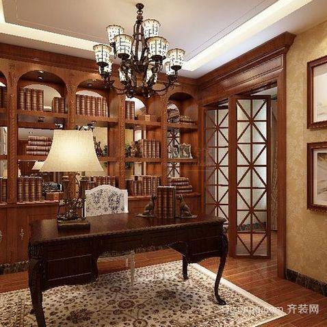 美式古典开放式小书房装修效果图