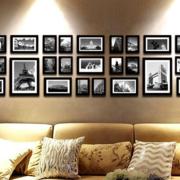 灰色调照片墙效果图