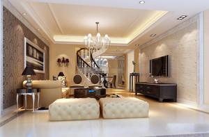 大户型中式客厅旋转楼梯装修设计效果图