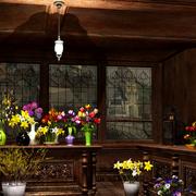 深色调花店设计图片