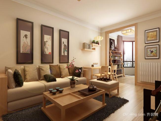 日式风格三室两厅两卫室内家装设计装修效果图