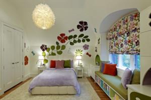 温馨儿童房手绘墙装修效果图