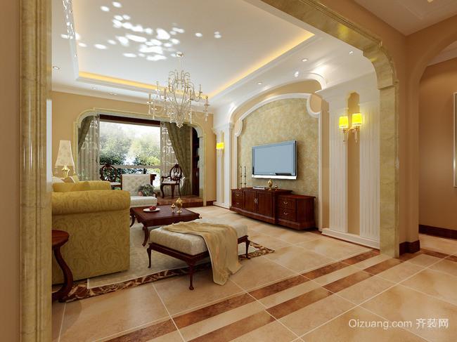 大户型欧式复式楼 客厅电视背景墙 装修 效果 图