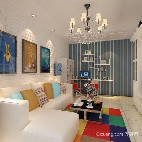 单身公寓美式客厅鞋柜背景墙装修效果图