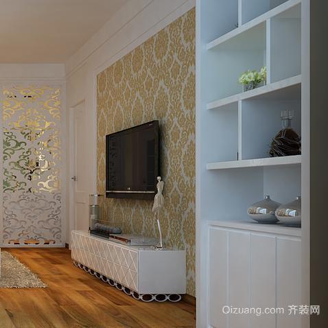 三室二厅欧式客厅酒柜装背景墙装修效果图