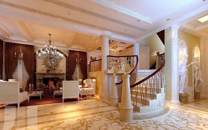 欧式风格楼中楼客厅装修效果图