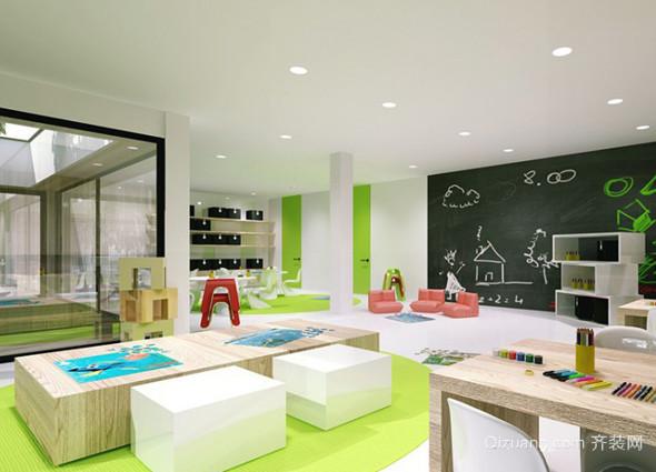 2015简约风格幼儿园教室布置设计装修效果图图片