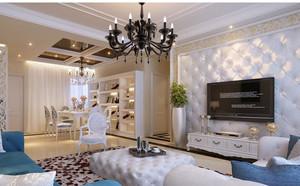 三居室大户型客厅3d电视背景墙装修效果图