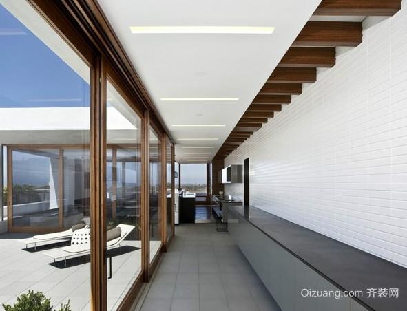 现代简约别墅走廊过道吊顶装修效果图
