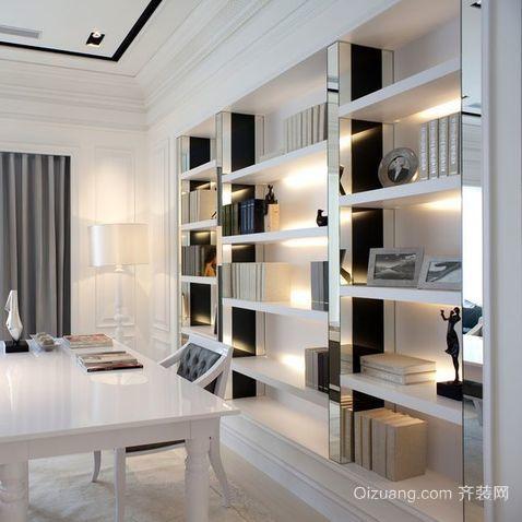 三室二厅现代书房创意书架装修效果图