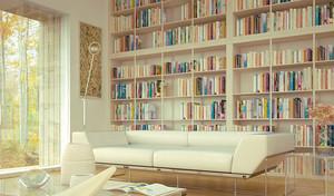 2015时尚客厅兼书房装修效果图