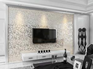 现代简单欧式客厅电视背景墙砂岩式几何布纱型壁纸图片