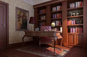 中式实木书房装修效果图