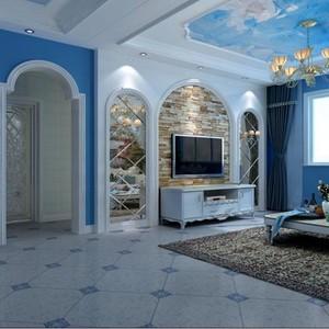 120平米大户型地中海风格客厅电视背景墙装修效果图