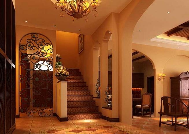 300㎡东南亚风格别墅楼梯设计装修效果图图片