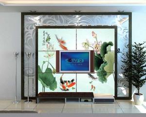 大户型现代客厅艺术玻璃隔断背景墙装修效果图