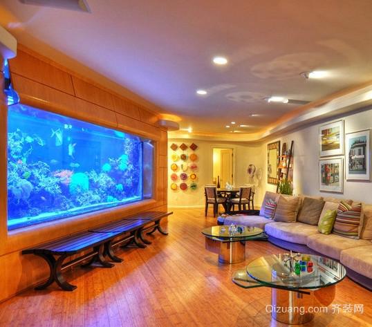 三室两厅两卫客厅鱼缸造景装修效果图
