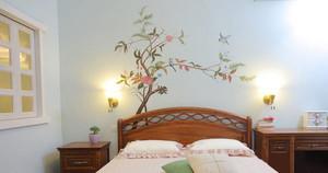 人工手绘卧室背景墙效果图