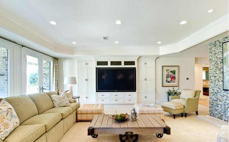 单身公寓简欧风格客厅电视背景墙装修效果图