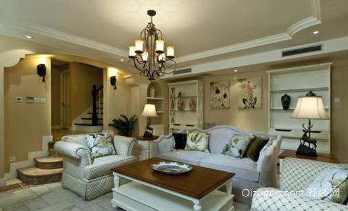 高贵典雅大户型美式客厅吊顶灯效果图