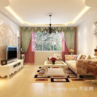 一室一厅韩式田园风格客厅装修效果图
