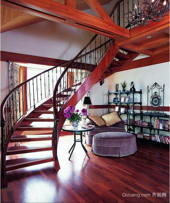 2015国内外室内流行复式及阁楼铁艺旋转楼梯装修效果图