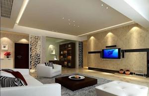 120平米三室二厅欧式现代客厅影视墙装修效果图