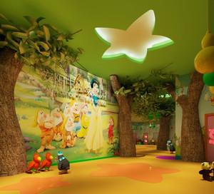 清新自然幼儿园墙体彩绘装修效果图