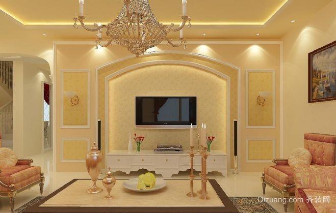 大户型欧式复式楼客厅电视背景墙装修效果图