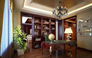 家庭欧美风情书房书柜装修设计效果图