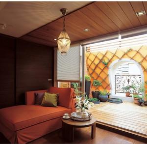 都市现代橙色沙发客厅装修效果图
