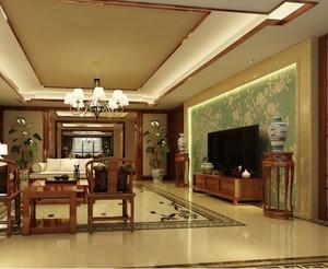 大户型现代中式客厅大理石背景墙装修效果图