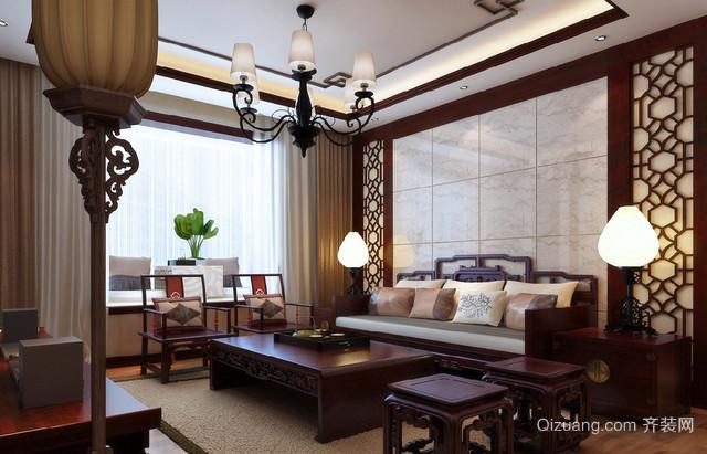 现代大户型中式客厅十字绣背景墙装修效果图