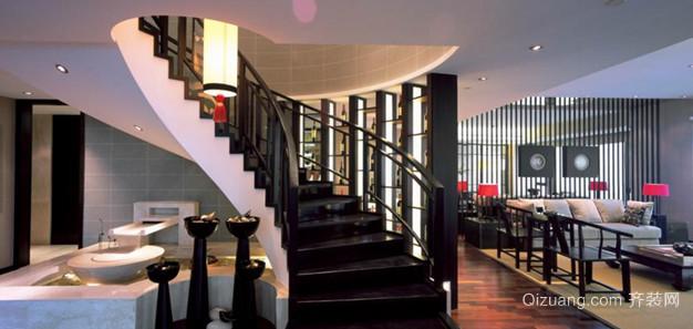大户型中式风格过道实木楼梯设计装修效果图
