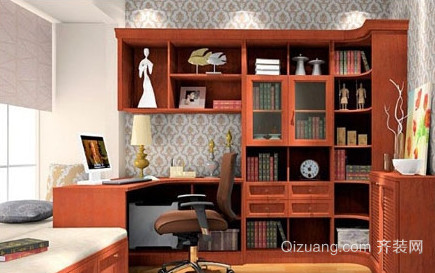 精美客厅及楼梯拐角书柜效果图
