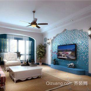 全新地中海风格客厅电视墙装修效果图