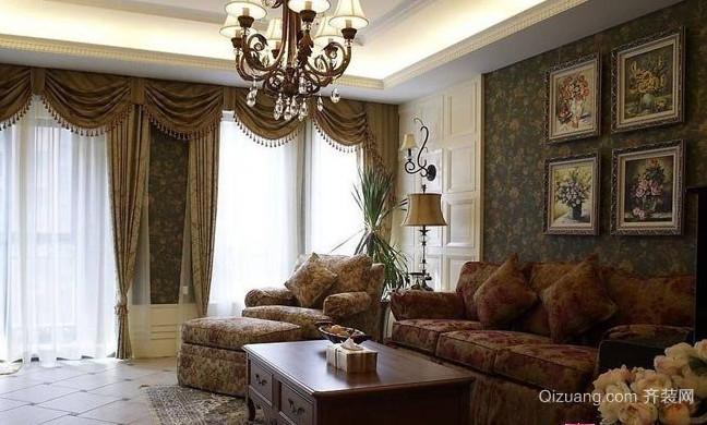 单身公寓欧式客厅沙发背景墙装修效果图