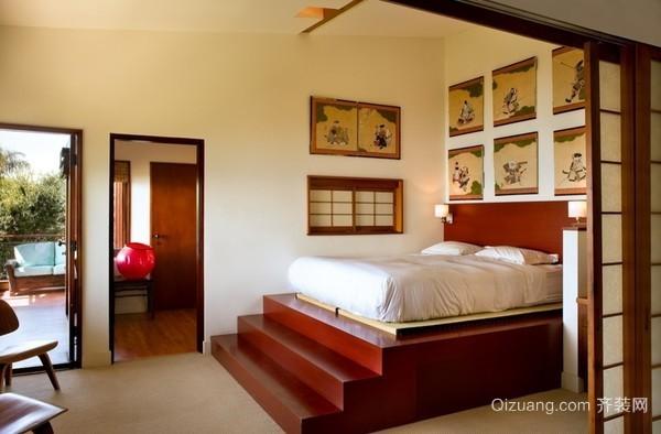日式90平米日式卧室榻榻米床背景墙装修效果图