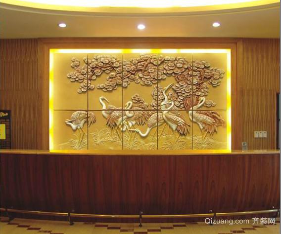 欧美式精致奢华质感3D花纹型大厅背景墙
