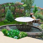 精致的花园外景图