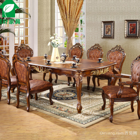 欧式风格古典餐桌餐厅装修效果图