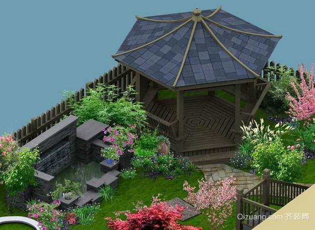 手绘经典简单复古自然系屋顶花园效果图