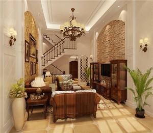 单身公寓美式客厅电视背景墙装修效果图