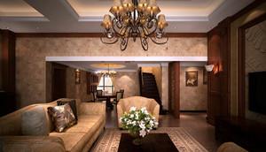 130㎡大户型美式客厅吊顶灯效果图