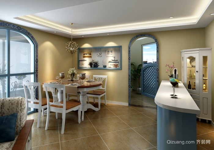 地中海风格厨房橱柜效果图