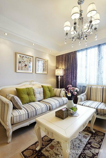 小户型单身公寓田园风格沙发背景墙效果图