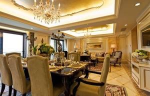 高端美式风格别墅客厅精装修效果图