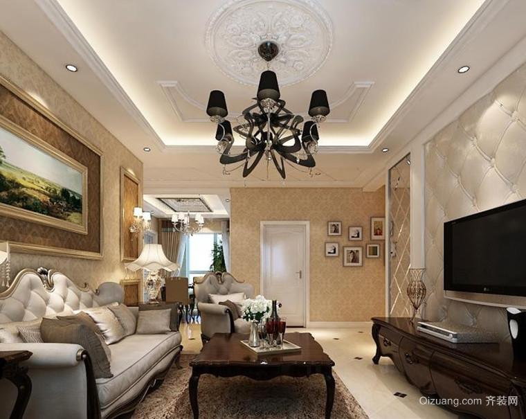 三居室复古风格客厅吊顶电视背景墙设计装修效果图