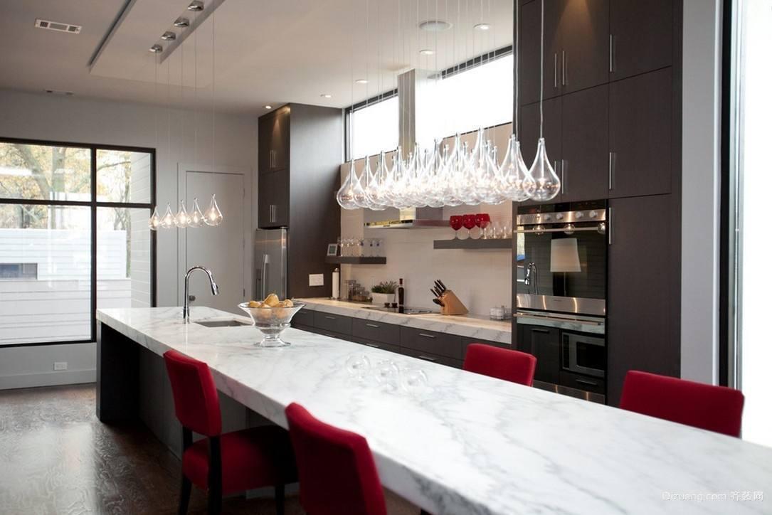 单身公寓欧式厨房吧台背景图装修效果图